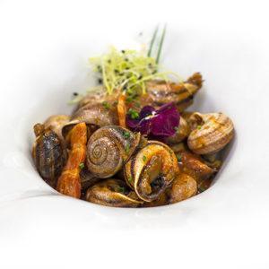 Caracoles con chorizo ibérico y cebolla frita