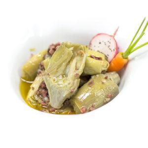 Cors de carxofa D.O. Tudela amb encenalls de pernil ibèric i oli d'oliva verge extra D.O. Siurana